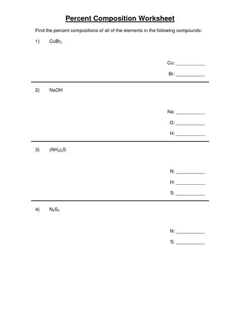 Percent composition worksheets with answers.pdf | Chemistry ...