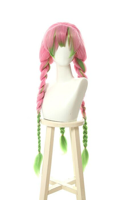 Demon Slayer Kimetsu No Yaiba Kanroji Mitsuri Cosplay Wig Pink Mix Green Braid Ebay In 2020 Cosplay Wigs Wigs Cosplay Shoes