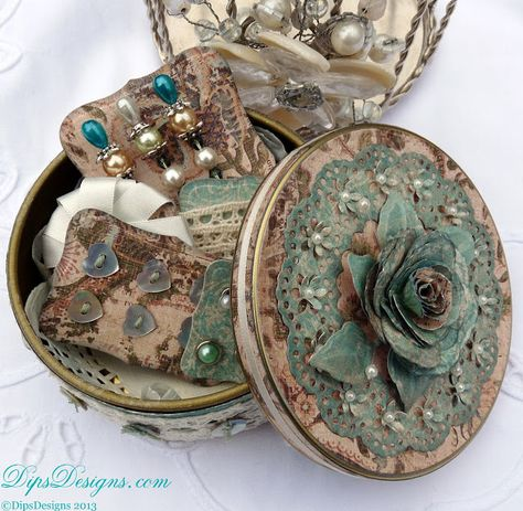DipsDesigns: Sewing Bee Altered Button Tin of Haberdashery Lovelies #tonicstudios #paperflowers