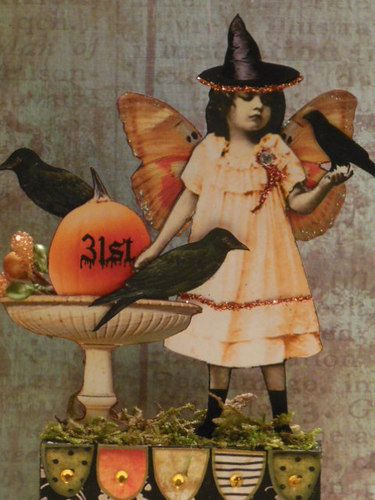 Altered Art Fairy Halloween Original Mixed Media Collage Paper Pixie Assemblage   eBay