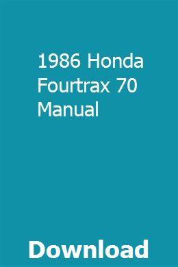 1986 Honda Fourtrax 70 Manual Pdf Download Online Full With Images Rubicon Honda Manual
