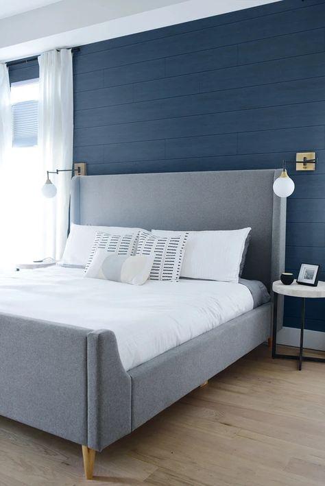 Blue Master Bedroom, White Bedroom, Master Bedroom Color Ideas, Dark Blue Bedroom Walls, Blue Bedroom Colors, Blue Bedroom Decor, Blue Paint For Bedroom, Blue Ceiling Bedroom, Blue Feature Wall Bedroom