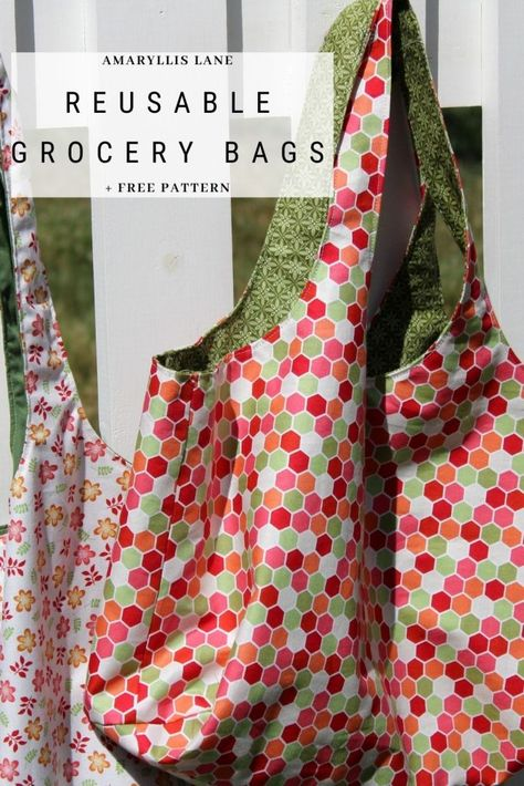 Hobo Bag Patterns, Easy Tote Bag Pattern Free, Reusable Grocery Bags, Plastic Grocery Bags, Sewing Tutorials, Sewing Projects, Sewing Patterns For Kids, Bags Sewing, Sew Tote Bags