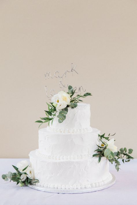 Your cake details can make your wedding reception extra elegant and stylish. Mark and Lauren's 3 tier, white wedding cake with white roses and eucalyptus was a beautiful centrepeice to their destination wedding day in Lefkada Greece. Planner Lefkas Weddings and Maxeen Kim Photography