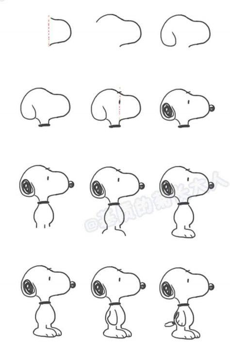 Draw Snoopy from the Peanuts - #draw #ParaDibujar #Peanuts #Snoopy