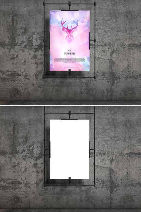 Concrete Wall Hanging Poster PSD Mockup Free Download   DesignHooks
