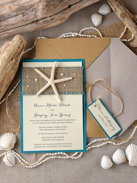 Tropical Beach Wedding Invitations 20 Starfish by forlovepolkadots