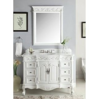 48 Benton Collection Beckham Antique White Bathroom Vanity Mirror White Vanity Bathroom Vanity Sink Bathroom Sink Vanity