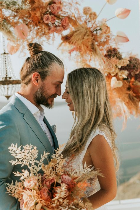 Earth Tone Elopement In Santorini That Will Make You Rethink A Neutral Wedding Color Palette