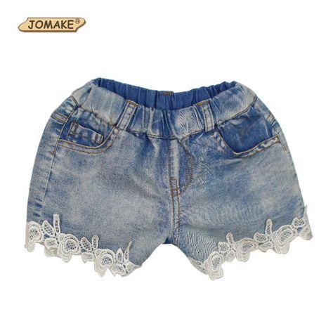 Nueva moda de verano 2016 de las muchachas de flor del cordón de bolsillo de los vaqueros cortos del bebé pantalones casuales pantalones cortos de los niños ropa de los niños(China (Mainland))