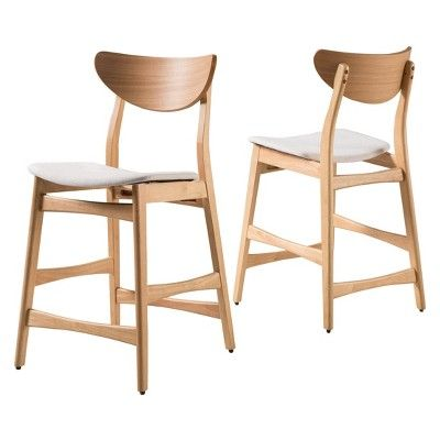 Magnificent 24 Gavin Counter Stool Oak Finish Light Beige Set Of 2 Caraccident5 Cool Chair Designs And Ideas Caraccident5Info