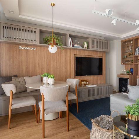 """Design de Interiores on Instagram: """"Sala integrada elegante e funcional! Esse projeto é um charme fala a verdade? 🥰 A ideia aqui foi trazer bastante madeira para deixar o…"""""""