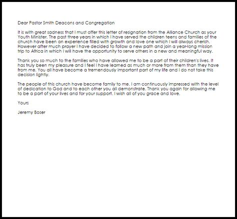 Youth Ministry Resignation Letter Example Resignation Letter