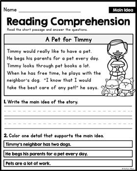 Reading Comprehension Passages Main Idea Little Readers With