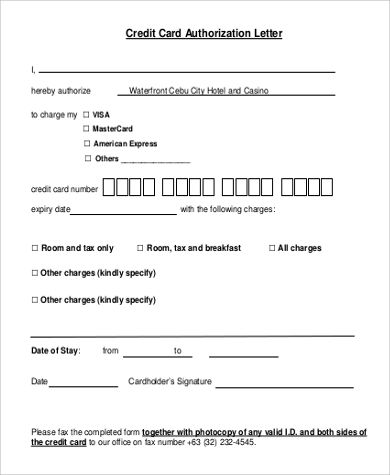 authorization letter format sample credit card free examples - creditcard authorization letter