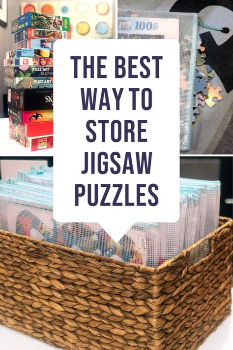 Puzzles in boxes take up a lot of space on a shelf. Instead, see how to store jigsaw puzzles in much less space! This is the best way to orgnanize puzzles for the whole family. Puzzle Organization, Puzzle Storage, Game Storage, Kids Room Organization, Craft Storage, Storage Organization, Playroom Ideas, Storage Room, Storage Ideas