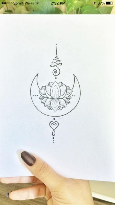 Unalome Tattoo Moon Lotus Blackwork Tattoos Mini Tattoos Unalome Tattoo