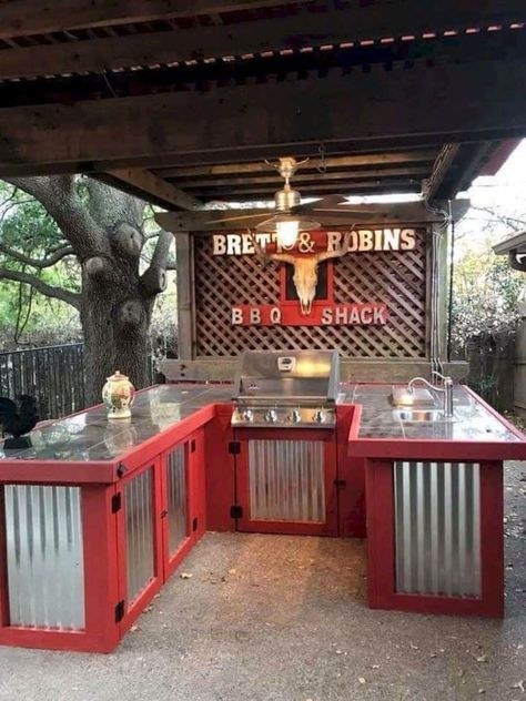 52 DIY Outdoor Kitchen Design Ideas That You Can Try, Outdoor kitchen bars, Outdoor Kitchen Bars, Outdoor Kitchen Design, Outdoor Bars, Rustic Outdoor Kitchens, Kitchen Decor, Outdoor Grill Area, Outdoor Grill Station, Outdoor Cooking Area, Outdoor Kitchen Countertops