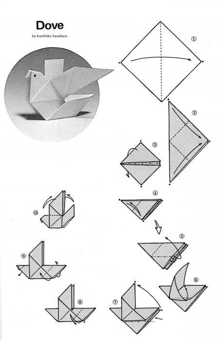 Голубь мира (поделка из бумаги): схема | Оригами птицы, Инструкция ...