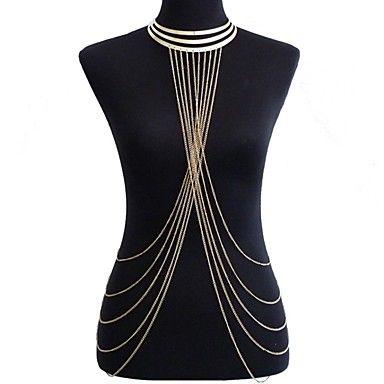 Boho Körperkette Damen Kette Blätter Vintage Sommer #S12 Bauchkette