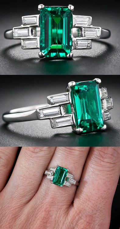 Emerald, Diamond & Platinum Ring at @LangAntiques. A delicate basket weave in baguette diamonds frame this incredibly high quality emerald. This fine Colombian gem emerald is close to flawless to the naked eye, a rare occurrence in emerald, and richly saturated with a deep green color. If you have been dreaming of a special emerald to grace your fingers this may be the one. The emerald measures 3/8 of an inch long by just shy of 1/4 inch wide.