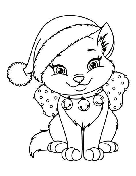 Kitten Coloring Pages 21 Printable Kitten Coloring Pages For Etsy Cat Coloring Book Printable Christmas Coloring Pages Christmas Present Coloring Pages