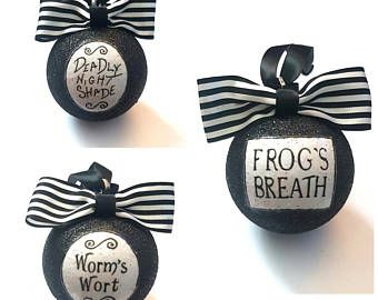 Jack Skellington Nightmare Before Christmas Potion Tree Baubles/Decorations - set of 3 choose your glitter colour Halloween Christmas Tree, Nightmare Before Christmas Ornaments, Disney Christmas, Christmas Baubles, Xmas Tree, Christmas Holidays, Black Christmas Trees, Nightmare Before Christmas Characters, Halloween Ornaments
