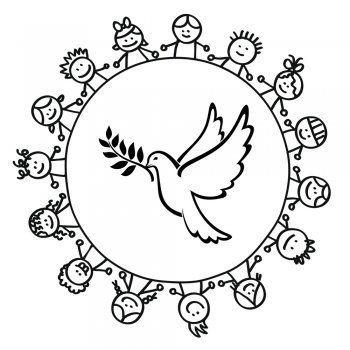 Dibujo De Un Corro De Ninos Alrededor De Una Paloma Educacion Para La Paz Paloma De La Paz Dibujos De La Paz