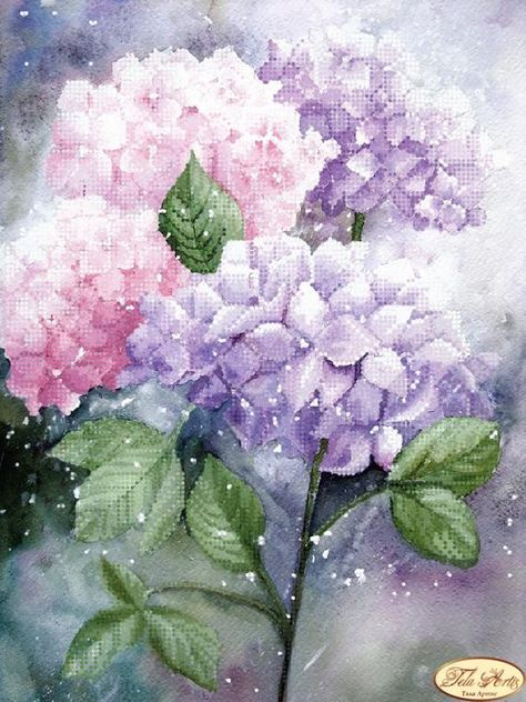 Tender hydrangea Bead Embroidery kit Needlework Kit Floral Beadwork Hand embroidery Home stitching d