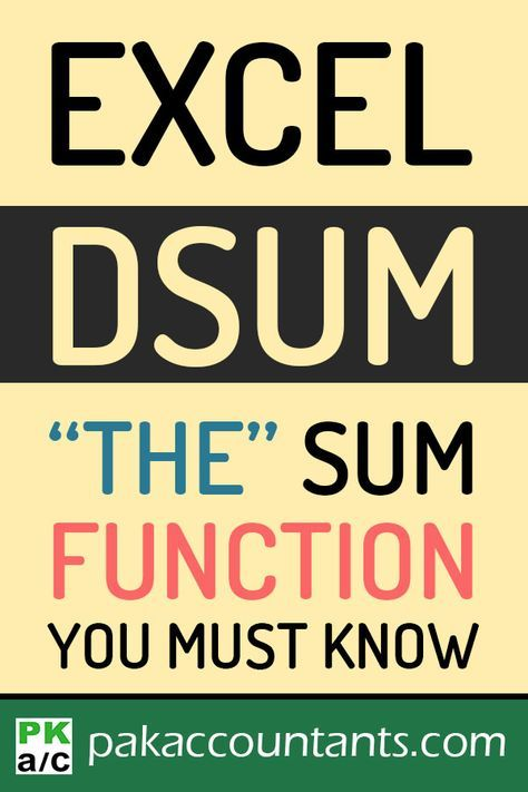 Know about one of the least known sum functions and learn three tricks with DSUM function in this formula guide. Free Excel tips, tricks, tutorials, dashboard templates, formula core book and cheat sheets Excel Cheat Sheet, Cheat Sheets, Computer Help, Computer Programming, Computer Tips, Microsoft Excel Formulas, Microsoft Office Online, Excel Hacks, Technology Hacks