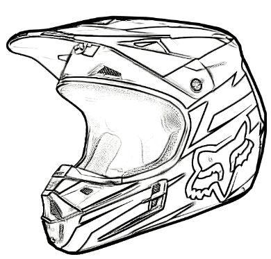 Coloring Page Dirt Bike Helmet Seni Desain Logo