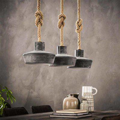 Industriele Hanglamp Zara 3 Lichts Betonlook Uit Voorraad Leverbaar Industriele Hanglampen Hanglamp Touw Verlichting