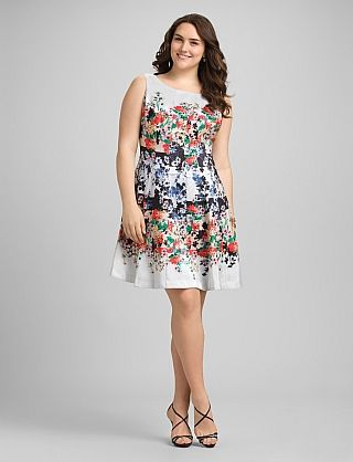 Plus Size Floral Fit-and-Flare Dress | Fit Me | Pinterest | Floral ...