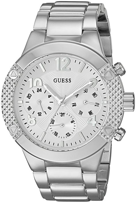 GUESS Women's Sporty Silver-Tone Stainless Steel Watch with Multi-function Dial and Pilot Buckle ** Continue to the product at the image link.