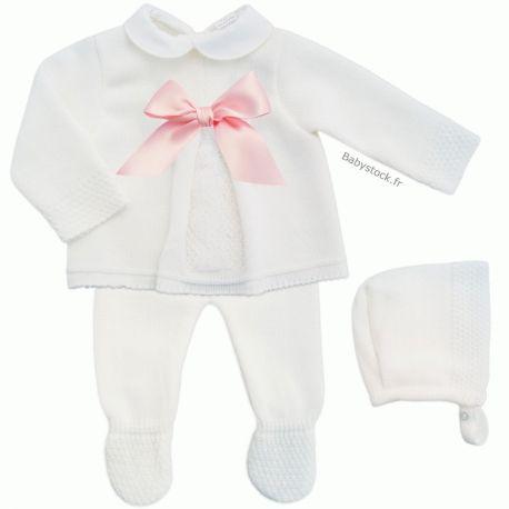 02f5f12675132 Ensemble bébé fille 3 pièces en maille tricot acrylique blanc et nœud en  satin rose à 17,99 € | Nouveautés sympas : Layette | Sweaters, Bebe et Rose