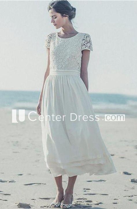 68bc5cf7e896cf Newest White Lace A-line 2018 Wedding Dress Cap Sleeve Tea Length Jewel -  UCenter