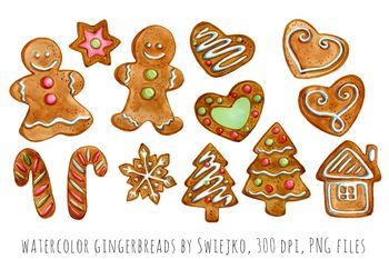 Watercolor Christmas Gingerbreads Holiday Decoration Xmas