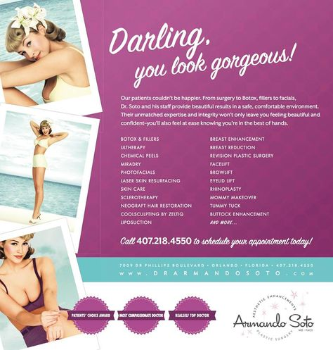 Check out Aesthetic Enhancement's full list of services. Find out more at www.drarmandosoto.com, and call 407-218-4550 to schedule your appointment today! #aesthetics #plasticsurgery #beauty #skincare
