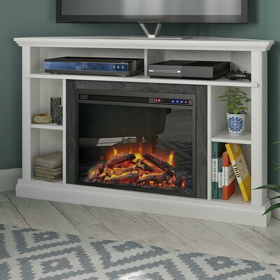 Ebern Designs Serbelloni Tv Stand For Tvs Up To 50 Inches With Electric Fireplace Included Colour White Electric Fireplace Corner Fireplace Tv Stand Fireplace Tv Stand