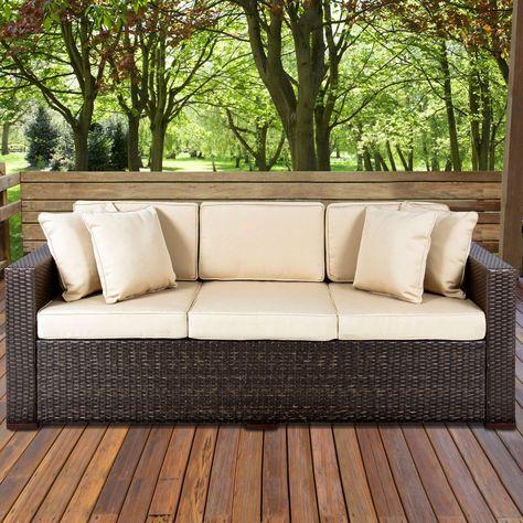 Outdoor Wicker Patio Furniture Sofa 3 Seater Luxury Comfort Brown
