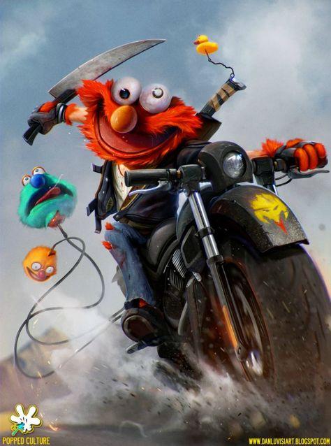 Evil Elmo Illustration Mashups Crossovers Swapping