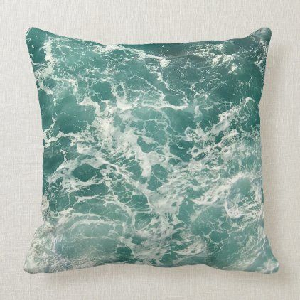 Blue Green Ocean Waves Throw Pillow Zazzle Com In 2020 Green Ocean Throw Pillows Ocean Waves