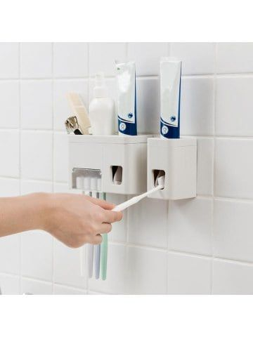 Punch Free Wall Hanging Bathroom Holder Toothpaste Squeeze Rack Bathroom Accessories Sets Wall Mounted Toothbrush Holder Bathroom Holder