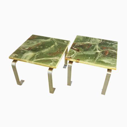 Vintage Beistelltische aus Grünem Marmor, 2er Set Jetzt bestellen - marmor wohnzimmer tische