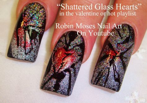 Shattered Glass Heart Nail Art by Robin Moses