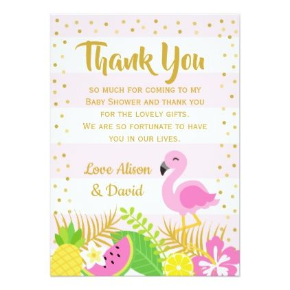 Pink And Gold Flamingo Baby Shower Thank You Card Thank You Gifts Ideas Diy Thankyou Pink Baby Shower Invitations Custom Baby Shower Invitations Baby Shower