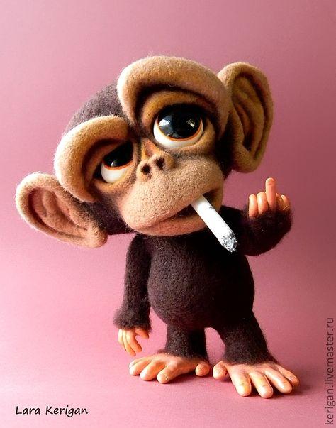 Купить Манки-бой - коричневый, малыш, шимпадзе, шутка, курение, сигарета, хулиган, обезьянка, шерсть
