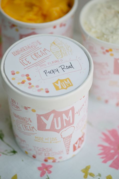 free ice cream container wraps and labels