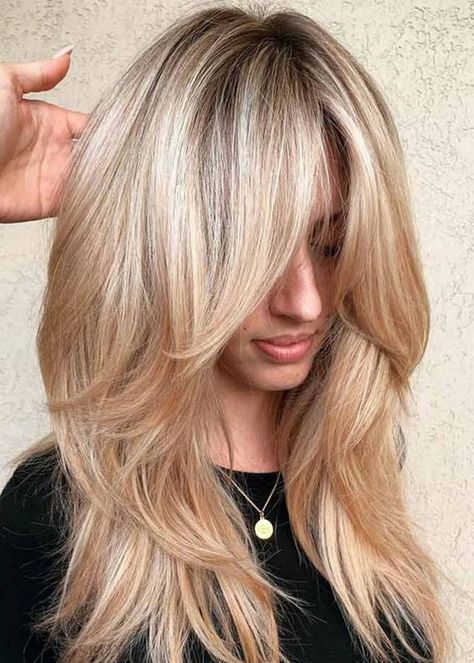 50 Cute and Effortless Long Layered Haircuts with Bangs Long layered hairstyles . 50 Cute and Effortless Long Layered Haircuts with Bangs Long layer Medium Hair Styles, Curly Hair Styles, Hair Layers Medium, Layers For Long Hair, Medium Long Hair, Thick Long Hair, Styles For Long Hair, Hair Cut Styles, Blonde Long Layers
