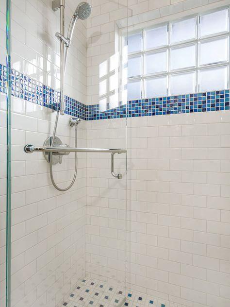 Fresh White Blue Accent Shower Tile Ideas Contemporary Bathroom White Bathroom Tiles White Bathroom Accessories Glass Tile Shower